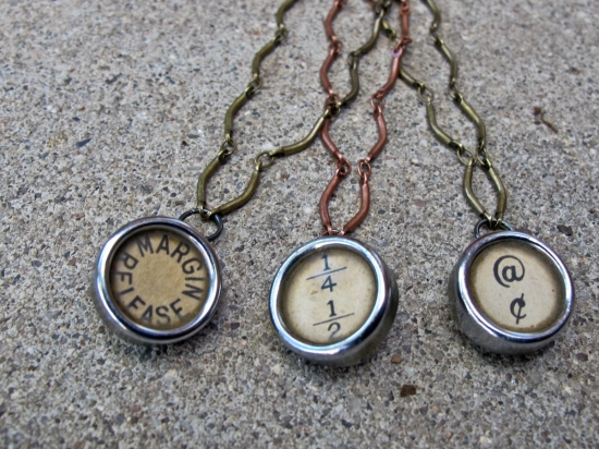 antique typewriter key jewellery steampunk style