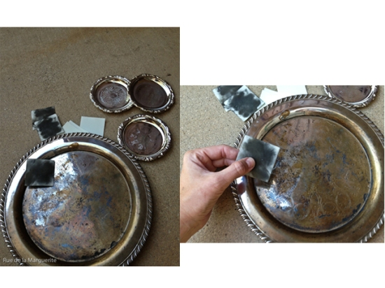polishing silver tea tray